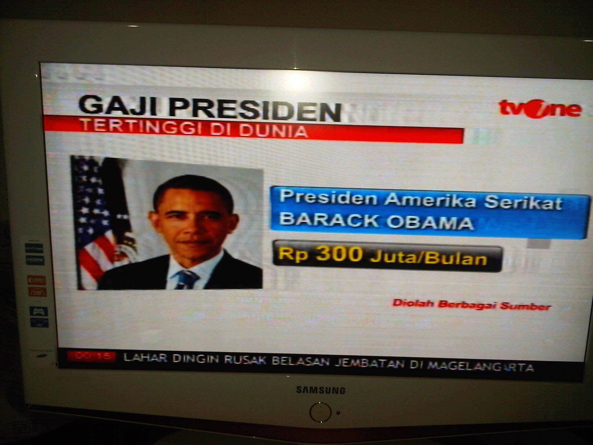 gaji presiden Barrack Obama