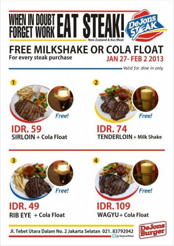 Dejons Steak - Harga / Price