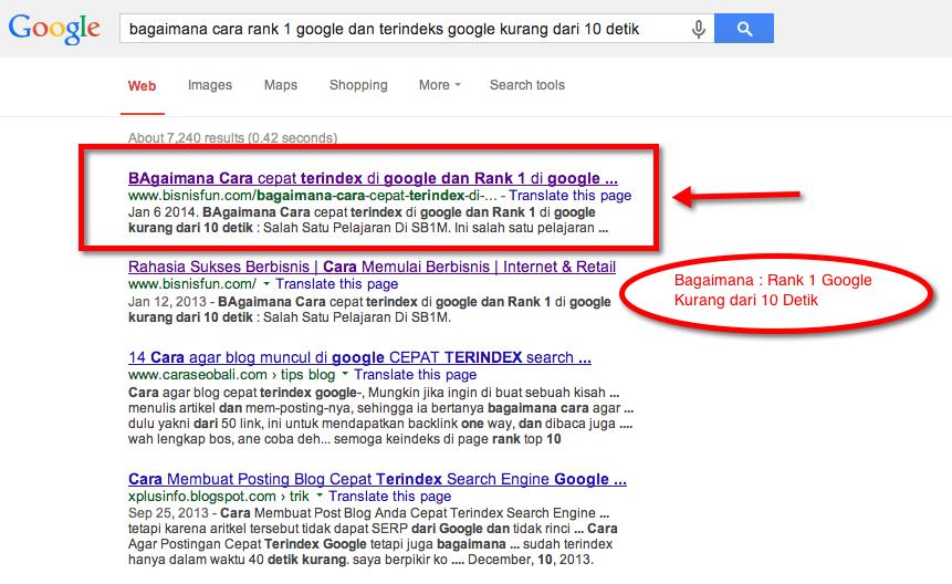 rank 1 google kurang dari 10 detik